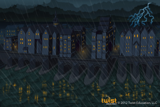 """London Bridge Concept art from Twist Education's """"Twisted Physics: Episode 1"""""""