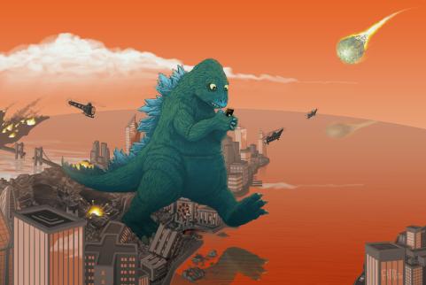 Texting Godzilla