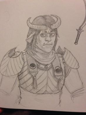 An Orc-Teifling Half breed takes no crap from no-body.