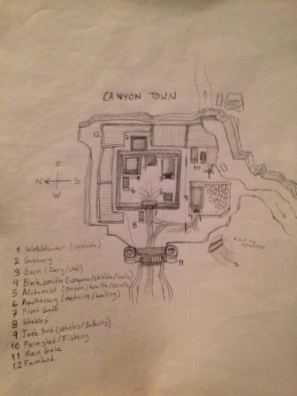 Canyon town's handwritten brochure.