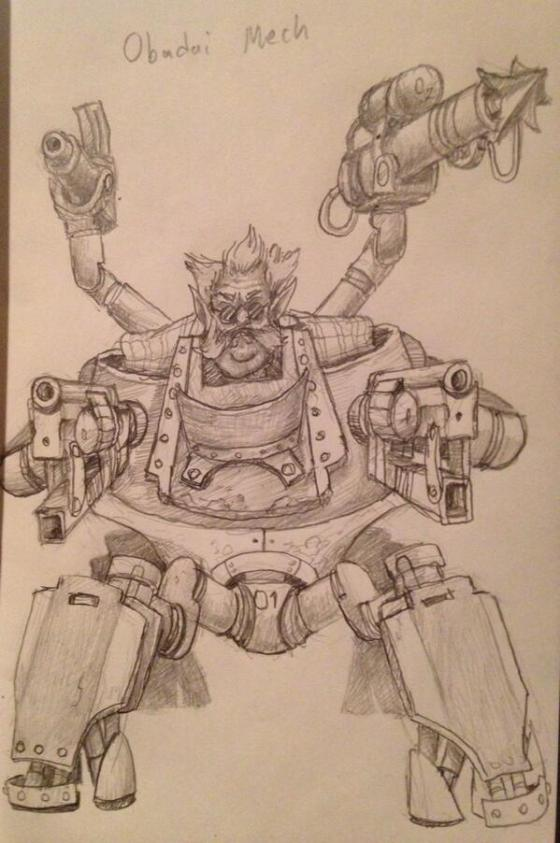 Obadai, a used car salesman in a high powered mech.