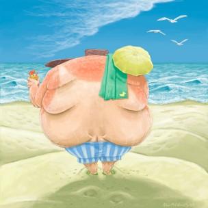 Fat guy at beach