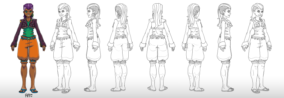 Turnaround for a character with fancy legwork skills.